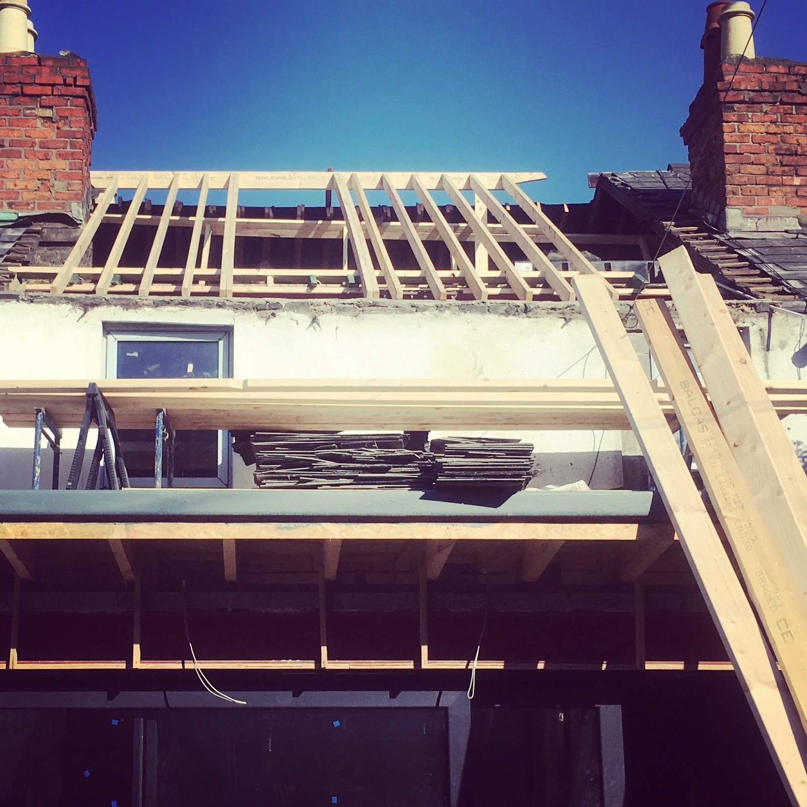 New beams added to back of house