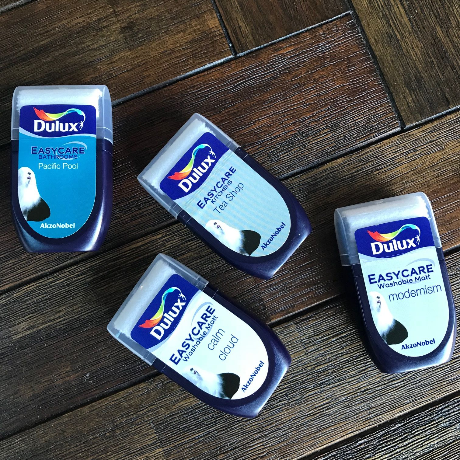 Four gorgeous Dulux colour testers