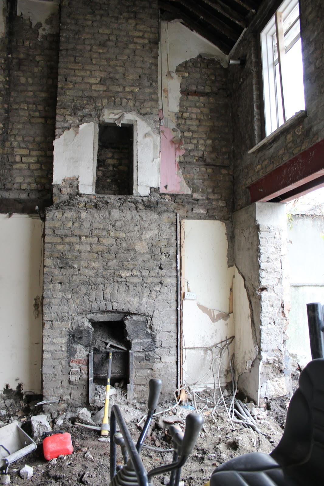 Entire house gutted and steel beam in